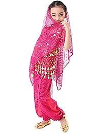 CoastaCloud-5 Piezas Belly Dance Danza Baile India de Niños Vestido Nueva Rosa L (Top,Falda,Velo de Cabeza,Cinturón de Moneda,Brazaletes )