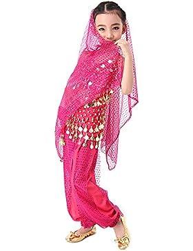 CoastaCloud-5 Piezas Belly Dance Danza Baile India de Niños Vestido Nueva Rosa S (Top,Falda,Velo de Cabeza,Cinturón...
