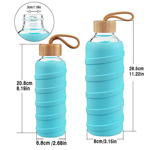 Botella de Agua de Cristal con Funda de Silicona y Tapa de Bambu a Prueba de Fugas 1 Litre SHBRIFA Botella de Agua de Vidrio de Borosilicato Deportivo 480ml 1000ml