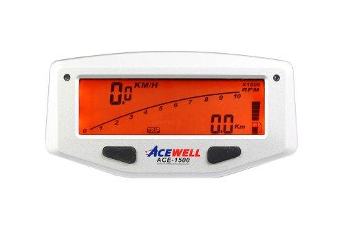 Acewell ACE-1500A Orange Digitaler Motorrad Tachometer mit Balkengrafik Drehzahlmesser, Tankanzeige und LED Schaltwarnung, Display orange