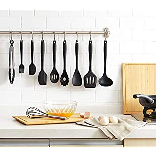 Mirviory HCL2201 10pc Kitchen Utensil Set, Silicone, Black