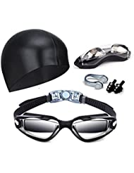 Swim Goggles, Vdealen Swimming Goggles Anti-Fog UV Protection Coated Lens No Leaking with Swim Cap, Nose Clip, Earplugs, Case for Men Women Adult Youth Kids
