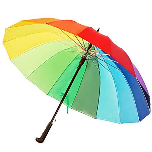 Aikesi. Paraguas Largos de arcoiris multicolor Clásico antiviento con mango de agarre suave