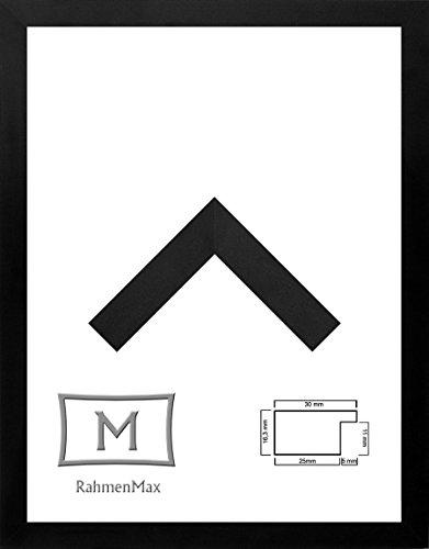 Morena Holz Werkstoff Bilderrahmen 24 x 32 cm modernes sehr eckiges Profil 32 x 24 cm grosse Farbauswahl jetzt: Schwarz Matt mit Kunstglas klar 1 mm