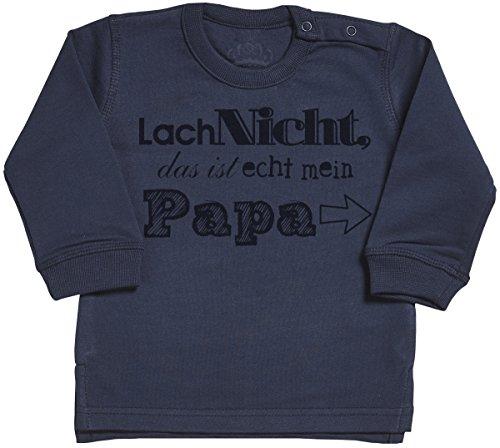 SR - Lach Nicht das ist echt mein Papa Baby Sweater - Baby Sweatshirt - Baby Jumper - Baby Jungen Sweater - Baby Mädchen Sweater - 12-18 Monate Marineblau