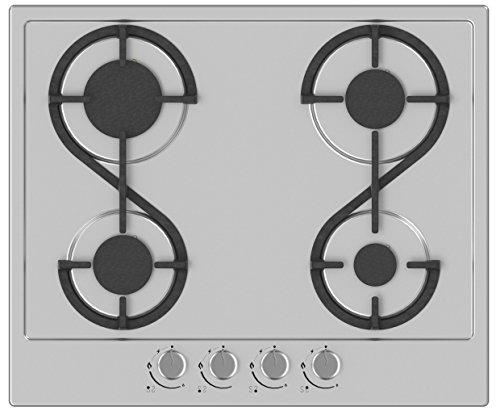 Hudson Table Plaque de Cuisson 4 feux Gaz - HTG 4 I - A encaster - Design - En émail Inox Gris - Très haute résistance - Dimension : 58x51x5 cm