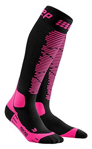 CEP - SKI Merino Socks Redesign für Damen | Merinosocken für den Wintersport in schwarz/pink | Größe III