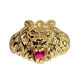 1001 Bijoux - Chevalière lion gros modèle pierre rouge vermeil - tour de doigt 58