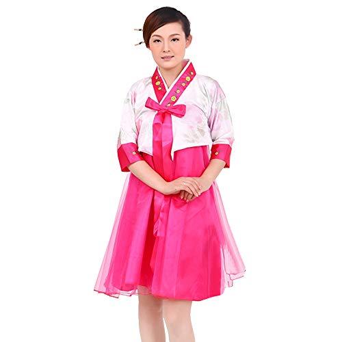 BOZEVON Damen Modern Hanbok - Ladies Kurze Ärmel Rock Blumenmuster Hochzeit, Style 1, EU L=Tag ()