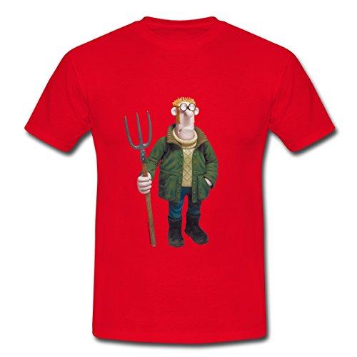 s Schaf Bauer Männer T-Shirt, S, Rot (Männer Bauer Shirt)