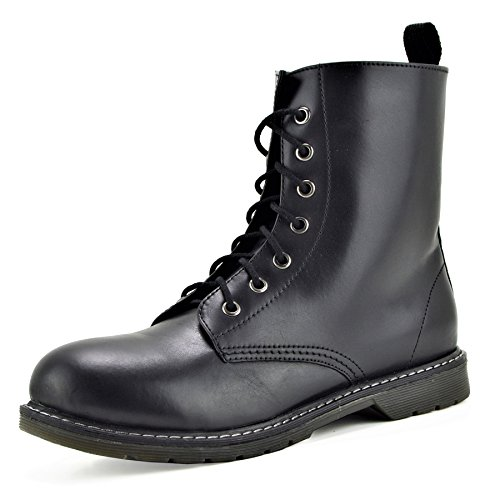 Kick Footwear Men  s Retro-Combat-Stiefel Funky Leder Vintage Gothic Ankle Boots Black Leather