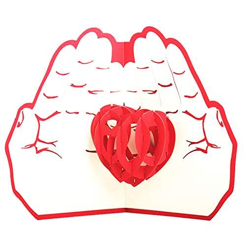 3d pop up greeting card cuore tra le mani per anniversario, matrimoni, compleanni, day card 3d regalo della mamma