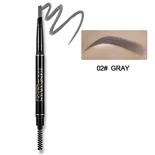 Augenbrauenstift mit Bürste, Precision wasserdicht Doppel-Augenbrauen Bleistift(Grau) (Automatische Long Lasting Eyeliner)
