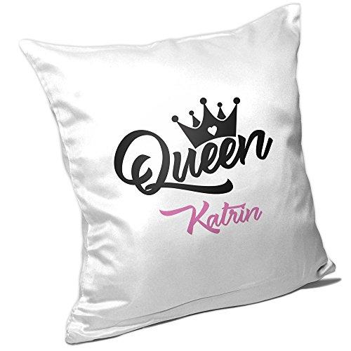 Kissen mit Namen Katrin und schönem Queen-Motiv für Frauen | Geschenk zum Valentinstag für Verliebte | Liebes-Kissen 5