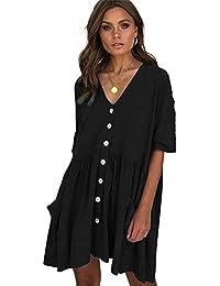 94de761bf Vestidos de Mujer Manga Corta Cuello en V Vestidos de Cintura Alta Botón T  Camisa Midi