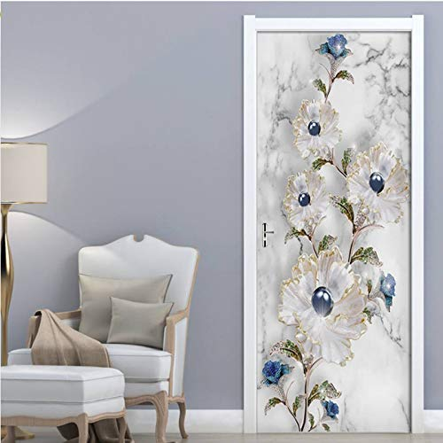 yezun Modern Marble Texture Embossed Jewelry Door Sticker PVC Self-Adhesive Wallpaper Living Room Bedroom Door Decor Decal Poster 77x200cm