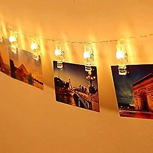 20 LEDs Foto Sterne Lichterketten, Warmweiß Dauerlicht für Bilder Fotos Karten Hängen, Batteriebetriebene…