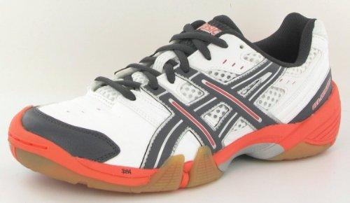 ASICS E266Y, Damen Handballschuhe, Frauen, Blanc/Gris/Orange, 41,5