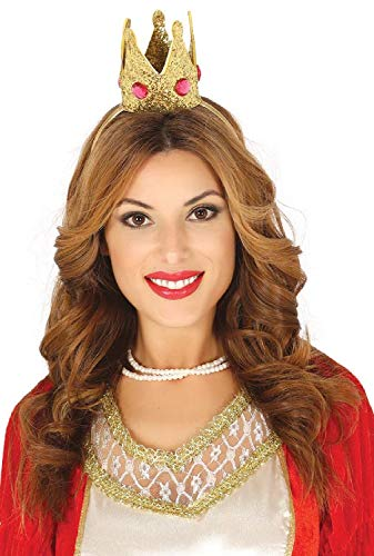ger Mädchen Mini Glitzer Gold Juwel Krone Haarband Queen Princess Royal Junggesellinnenabschied Kostüm Outfit Zubehör ()