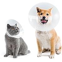 Collar Isabelino Perro Ajustable Cono Gato para Cachorros Protector de Heridas, Anti Bite, Ligero Cono para Mascotas para Perros Medio y Grande y Gatos, Transparente, S