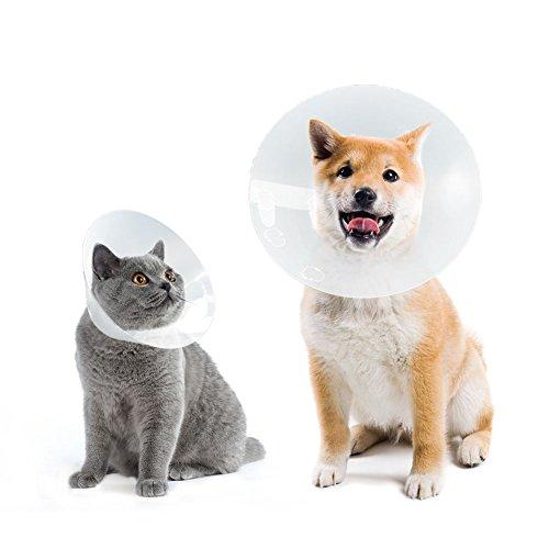 Petfu Halskrause Haustiere, Hundehalsbander Halskrausen Kegel, Elizabethan Halsband mit Atmungsaktiv, Kunststoff Snap Schliebung Mittlerer/Grobe Hund, L