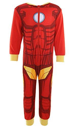 """Pigiama intero dell'incredibile hulk, di iron man o di spiderman, prodotto ufficiale marvel della serie """"avengers"""", per bambini da 2 a 8 anni iron man 3-4 anni"""