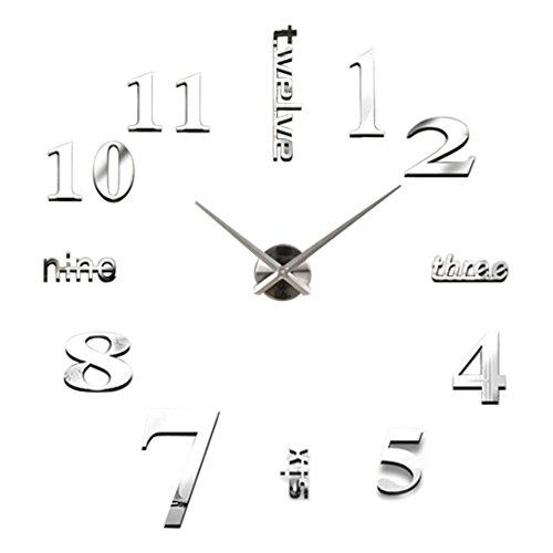relojes de pared modernos Sannysis DIY reloj de pared adhesivo digitales con números romanos pegatina de pared de espejo 3D para hogar y oficina (Plata)
