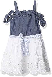 او في اس فستان للبنات، ابيض وازرق - 4 - 5 سنوات