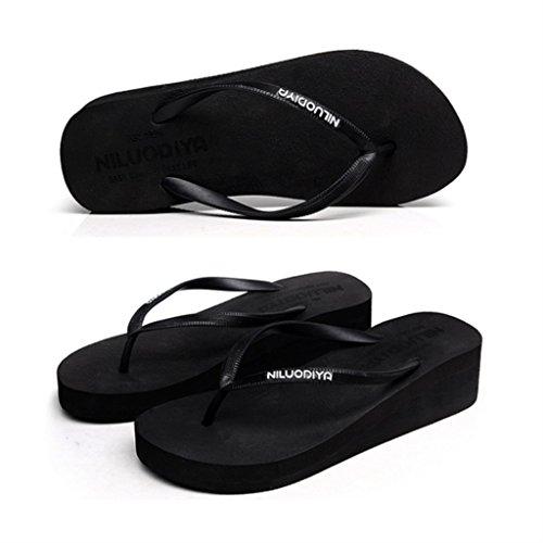 ALUK- Eté - pente avec le mot glisser le fond de la plage sandales pieds chaussons cool ( Couleur : Noir , taille : 40-Shoes long250mm ) Noir