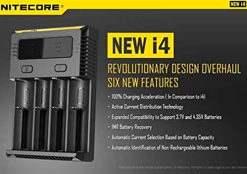Nitecore NEW i4 Intellicharge Ladegerät für Li-Ion / IMR / Ni-MH / Ni-Cd 26650 22650 18650 18490 18350 17670 17500 17335 16340 RCR123 14500 10440 AA AAA AAAA Batterien Akku
