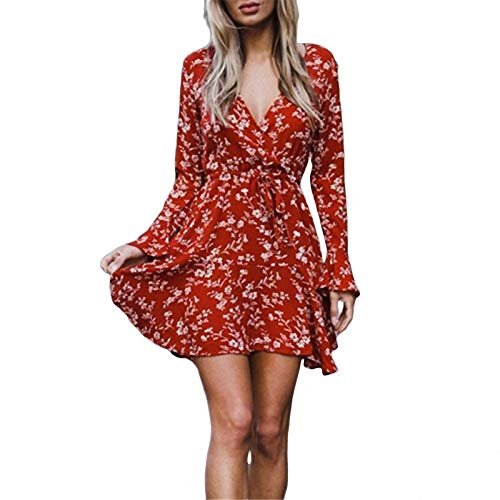 Nuove donne di arrivo dress boho style ladies manica lunga evening party dress new sexy scollo a v abiti stampa floreale abiti femminili in abiti da donne come mostra la foto