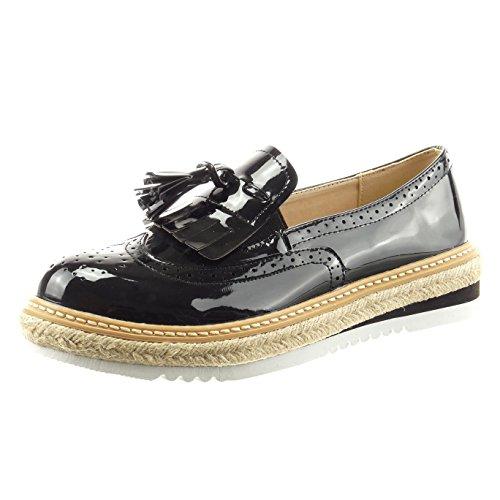 Sopily - Chaussure Mode Mocassin Espadrille Cheville femmes verni pom-pom perforée Talon bloc 4 CM - Noir