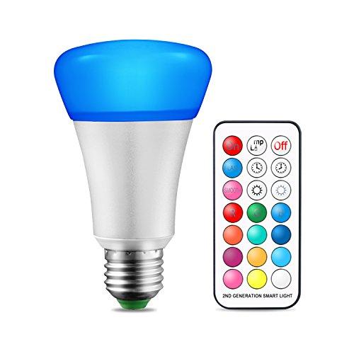 Bombilla de cambio de color E27 10W Regulable RGBW Bombillas LED con control remoto, función de memoria doble, 12 opciones de color para la decoración del hogar Luces de efectos de fiesta [Clase de ef