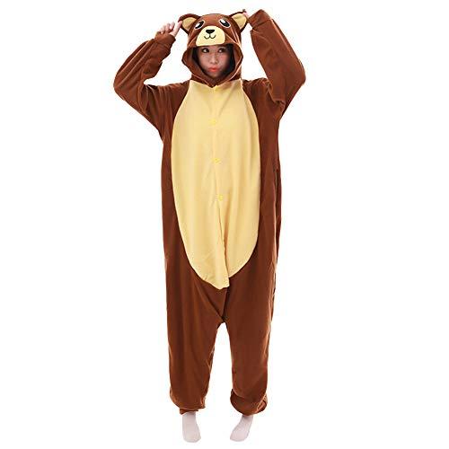 LPATTERN Erwachsene Damen/Herren Cartoon Kostüm- Jumpsuit Overall Schlafanzug Pyjamas Einteiler, Braun und Gelb Bär, XL für Körpergröße 178-188CM (Bär Kostüm Frauen)