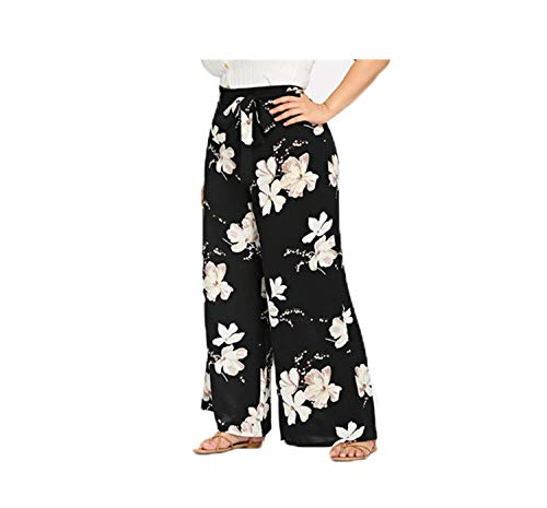 Sash Bar (Plus Size Black Belted Floral Print Wide Leg Pants New Women Spring Summer Boho Knot Long Loose Trousers with Sashes Black XXL)