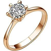 Yoursfs - Anello di fidanzamento con finto diamante solitario, 1CT, placcato in oro rosa 18k - Vintage Diamante Solitario