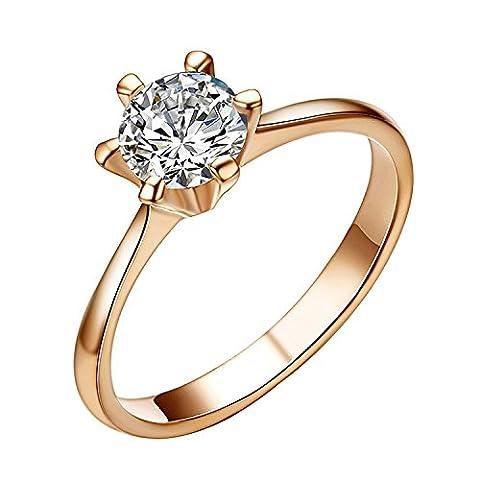 Yoursfs Zierliche Solitäre Ringe für Frauen & 18K Rosegold vergoldete Ringe Österreichischen Kristall Frauen/Damen (Frauen Österreichischen Kristall-ring)