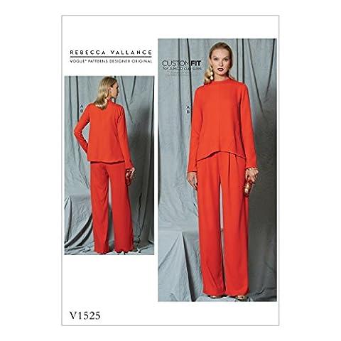 Vogue Patterns 1525E5Patron de Couture Haut et pantalon pour femme Motif, multicolore, tailles 14–22