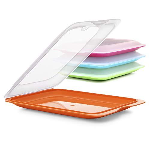 Hochwertige Aufschnitt-Boxen 4er Set platzsparend stapelbar ( Stapelboxen ) / Vorratsdosen-Set für Aufschnitt mit integrierter Servierplatte. Foodcenter Frischhaltedosen für den Kühlschrank