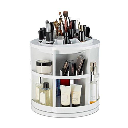 Relaxdays Organisateur cosmétiques Rotatif 360°C avec 38 Compartiments boîte Rangement Maquillage Make up, Blanc