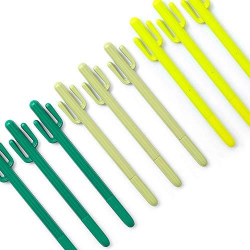 GerTong Kaktus-Stifte, 9 Stück, schwarze Tinte, feine Spitze, Gelstifte Schreibstifte für Jungen Mädchen Studenten (Es Ist Ein Mädchen-tinte-kugelschreiber)