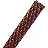 "Wang-Data 100ft-1/2"" Expandable Braided Sleeving -Black And Red -cable Management Sleeve Cord Organizer For Wrap & Protect Cables"