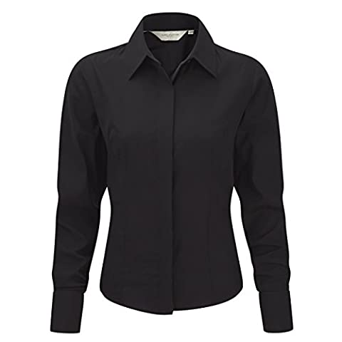 RUSSELL Women's Long Sleeve Work Shirt (Sizes 8-22) Eco Friendly Anti-Bacterial Formal Corporate Blouse - Multi 3 Pack (Size 2XL)