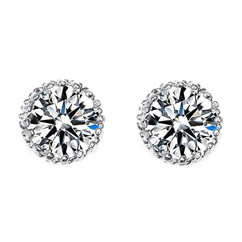 HIWSSH Ohrring Multi Prongs 8Mm 2Ct Top Quality Cubic Zirconia Stud Ohrring UE0013 Clear -
