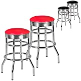 FineBuy 2er Set Barhocker King American Diner Retro Design Kunstleder Metall in rot | Design Barstuhl Retro 50er Jahre 2 Stück | Tresenhocker Sitzhöhe 71 cm