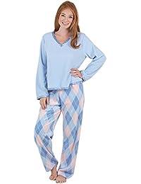 PajamaGram Pijama para mujer - Forro polar suave y calentito - Cuello en V