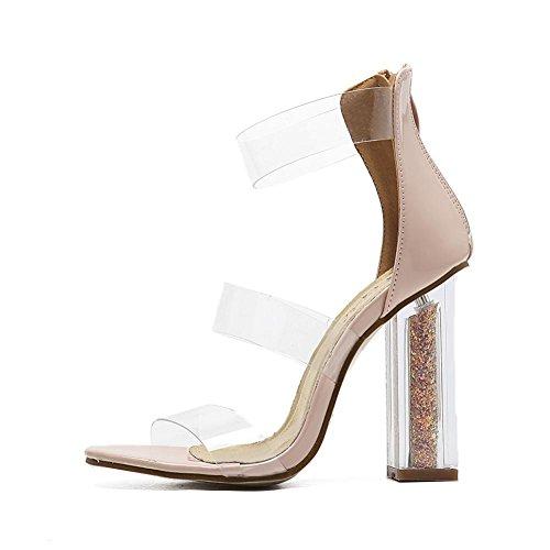 Lemon&T Été PU féminin style décontracté-Bout rond antidérapante semelle épaisse talons sandales Chaussures Black