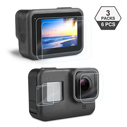 Protecteur D'écran pour GoPro Hero 8 Black, iTrunk Ultra Clair Verre Trempé Protection Écran pour Écran+ Verre Trempé Film pour Lentille+ HD Petite Protection d'écran Accessoires pour Hero 8 (6Pcs)