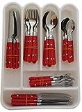 48pièces en acier inoxydable de couverts en rouge, noir ou blanc avec tiroir de cuisine Vaisselle de bac de rangement en plastique, Red