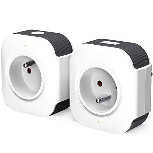 Prise Connectée, Prise WiFi Intelligente (FR) Contrôle Vocale Compatible avec Android iOS Amazon Alexa Google Home IFTTT USB Port Prise Programmable Télécommande App